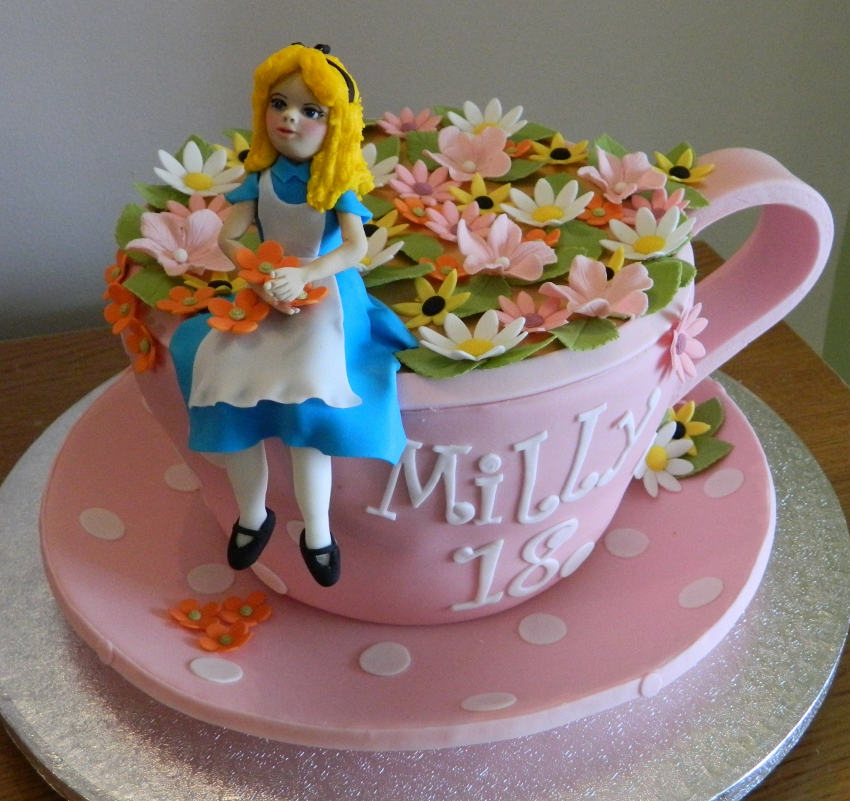 Alice sitting on a teacup Birthday Cake