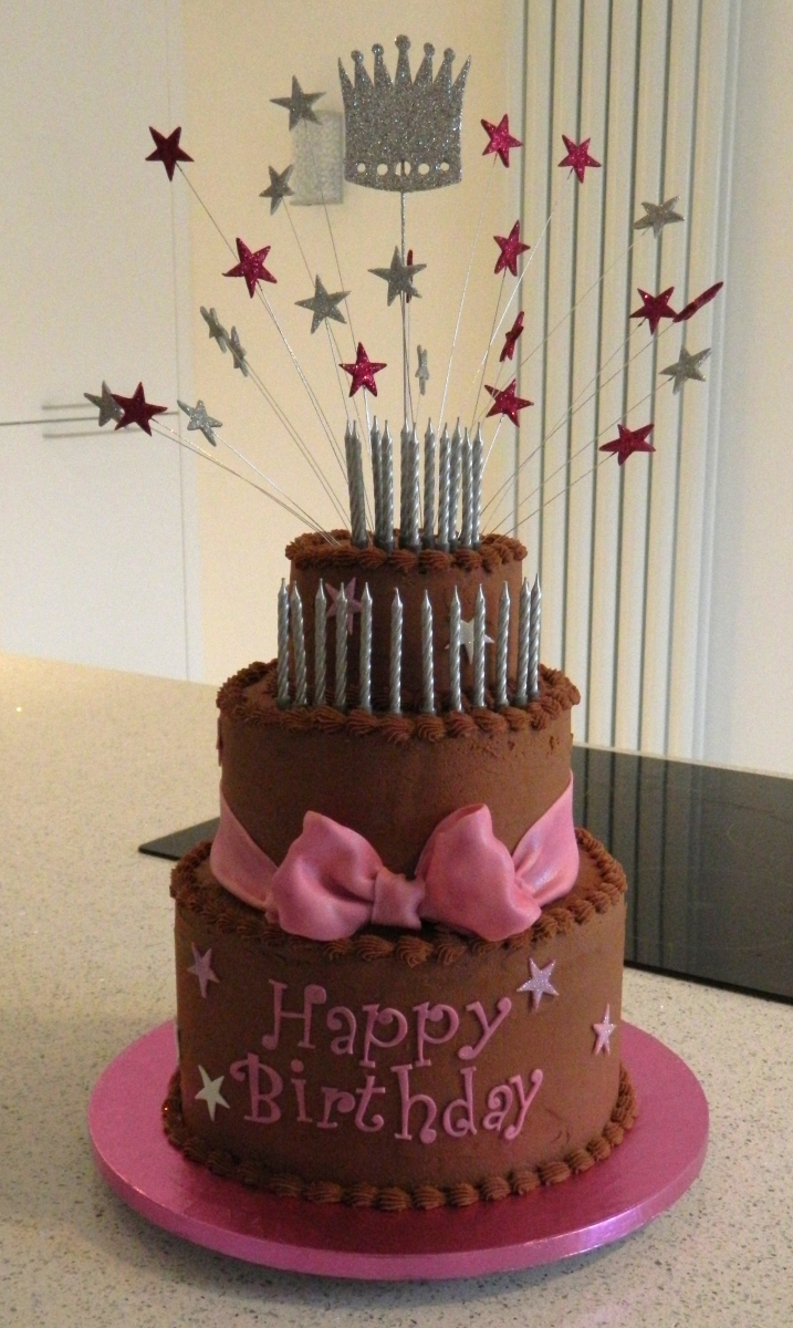 Chocolate cake with stars and sparkle