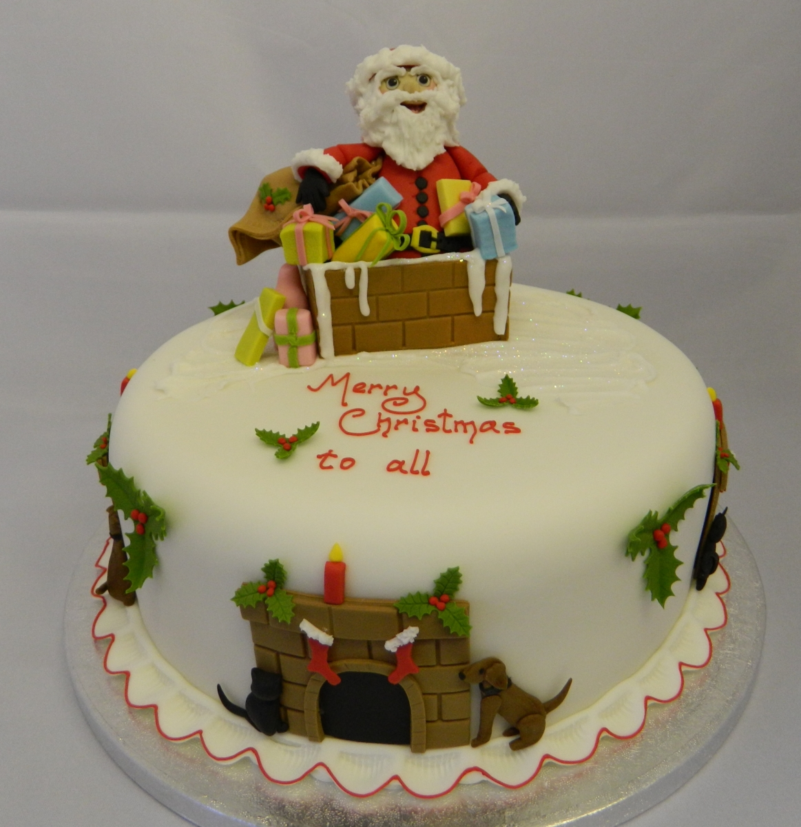 Christmas Cake - Santa in Chimney